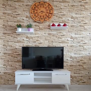 MDF  Tv Ünitesi Dolabı Raflı Beyaz 120*46*30 ( MS 30 )