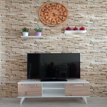 MDF  Tv Ünitesi Dolabı Raflı Beyaz -Keçe 120*46*30 ( MS 31 )